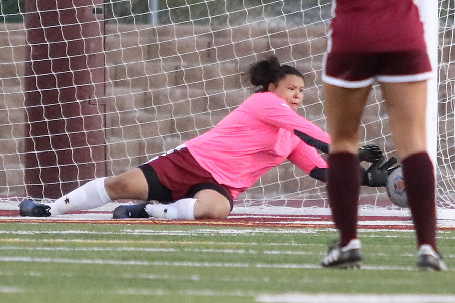 Deanna Campos subbed in as goalie for the Lancers in their 2-2 tie at Antelope Valley College on Friday.