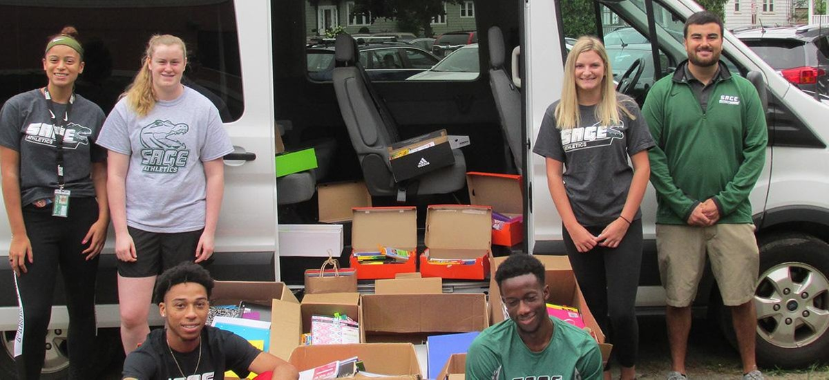 Sage student-athletes continue tradition of donating to area school with back to school supplies