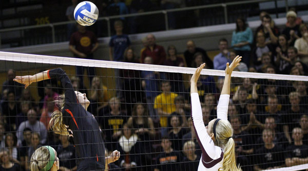 Haley Mucha recorded four blocks in the NCAA Division III Tournament regional final loss to Calvin. Photo by Paul Evans
