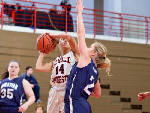 Cardinals Outlast Moravian 75-69, Even Out Conference Record