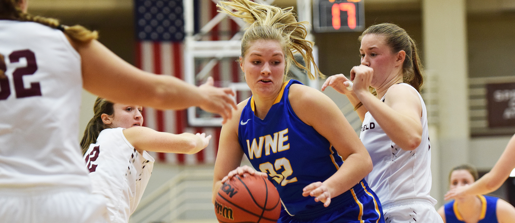 Sophomore Courtney Carlson recorded 13 points, seven rebounds, two assists and one block in Western New England's overtime loss at Roger Williams on Wednesday. (Photo by Rachael Margossian)