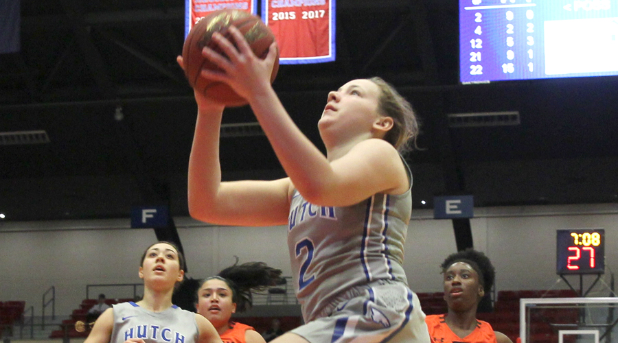 Abby Ogle had 13 points, seven rebounds and six assists in No. 4 Hutchinson's 83-69 win over Cowley on Saturday at the Sports Arena. (Bre Rogers/Blue Dragon Sports Information)