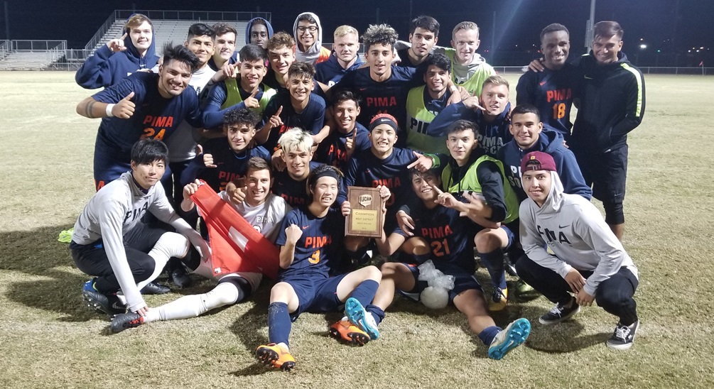 The Aztecs men's soccer team claimed the West District title in a 1-0 win over Snow College. Hugo Kametani scored the golden goal in the 101st minute. The Aztecs stamped their spot for the NJCAA Division I National Tournament from Nov. 12-17 in Daytona, FL. Photo by Raymond Suarez