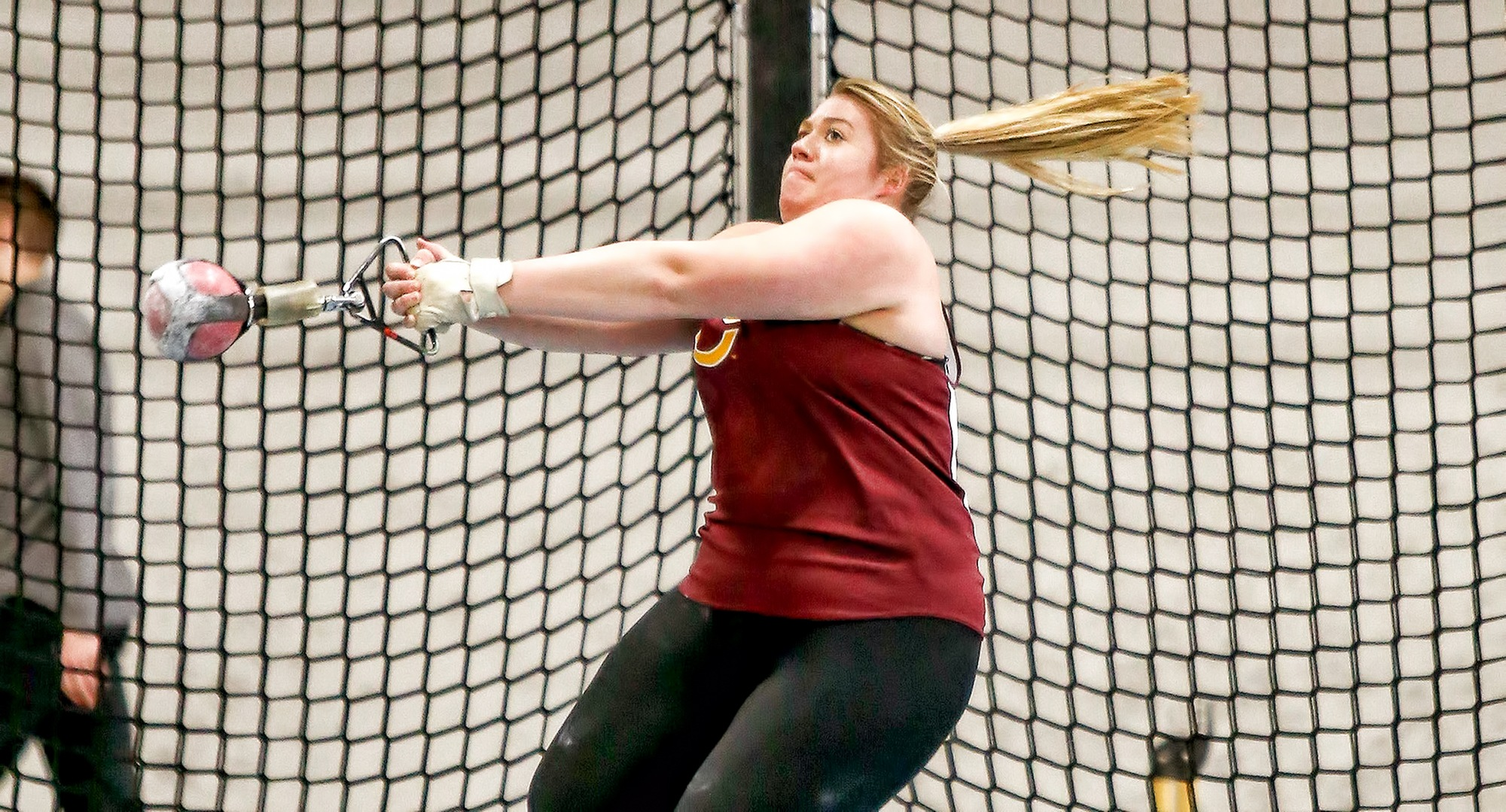 Kelsey Rajewsky posted her second straight 5th-place finish in the weight throw at the MIAC Indoor Meet. She was one of three CC athletes who went 3-4-5 in the event. (Photo courtesy of Nathan Lodermeier)