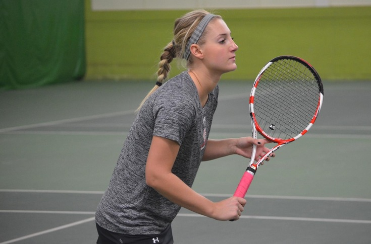 Women's tennis team edges Alma, 5-4, for first MIAA win of season