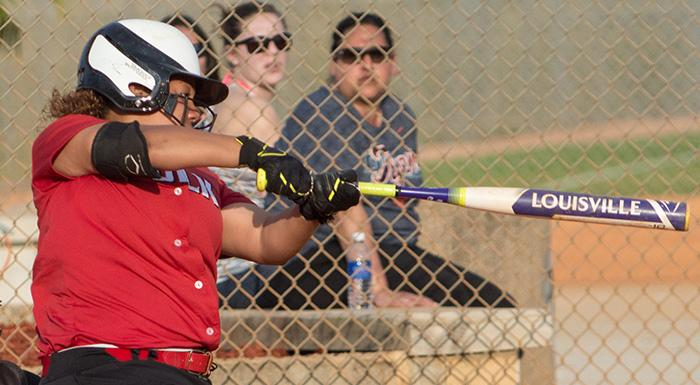 Shailyn Morales had a home run, two singles, and three RBI as the Eagles swept a doubleheader against South Florida. (Photo by Tom Hagerty, Polk State.)
