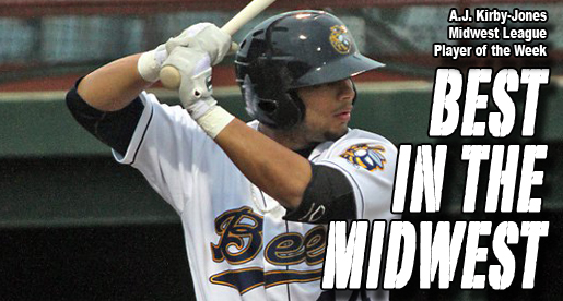 Kirby-Jones named Midwest League Offensive Player of the Week