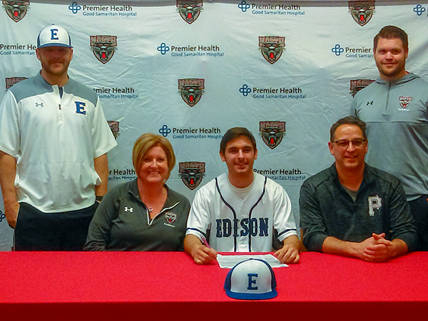 Collin Whipp signs a National Letter of Intent to join the Edison State Baseball team. He is pictured with his parents, Dave and Beth, Edison State Head Coach Tyler Koch, and Tri-County North Head Coach Justin Tucker.