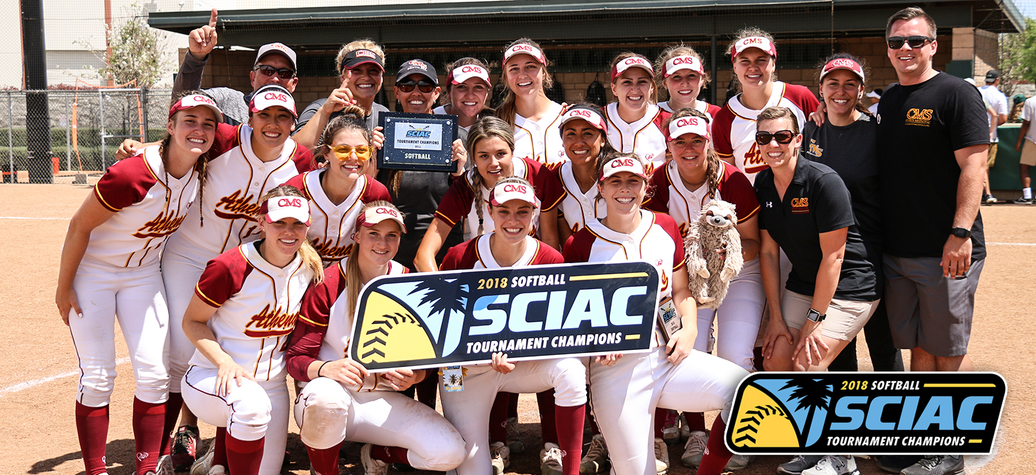 Athenas celebrate the 2018 SCIAC Tournament Championship on Sunday afternoon. (photo credit: Alisha Alexander)