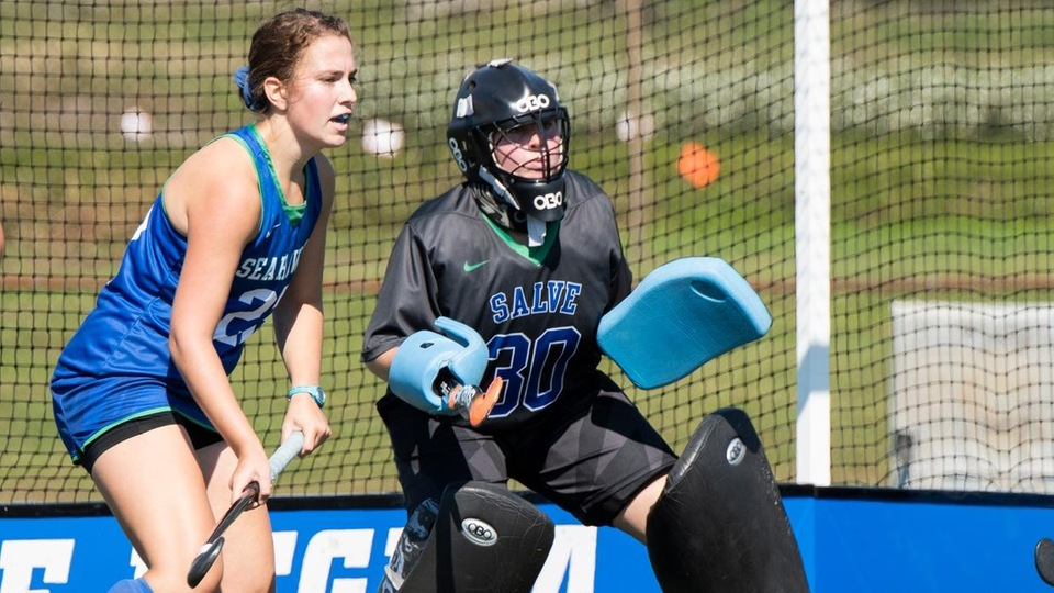 Seahawk seniors Emma Gaudio and Ally Daly led Salve Regina field hockey to its first shutout of 2018, and the timing could not have been better than first round action of the Commonwealth Coast Conference (CCC) Championships. (Photo by Dave Hansen)