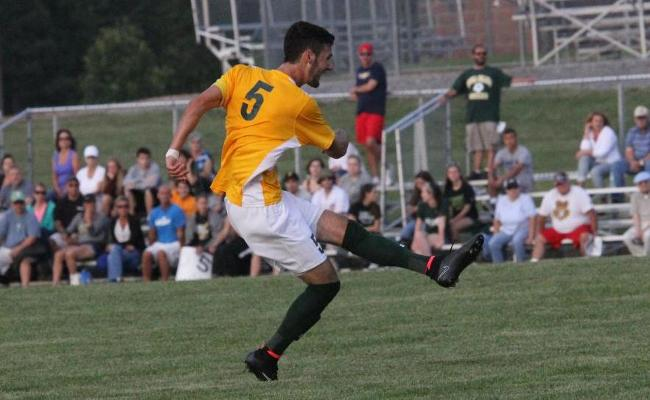 Senior Austin Gerber scored two goals and added an assist as the Keuka College men's soccer team blanked SUNY ESF 4-0 Wednesday evening (photo courtesy of Ed Webber, Keuka College Sports Information department).