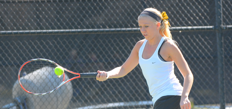 Senior Academic All-OAC player Kelly Peskura defeated her Marietta opponent by a score of 6-0, 6-0