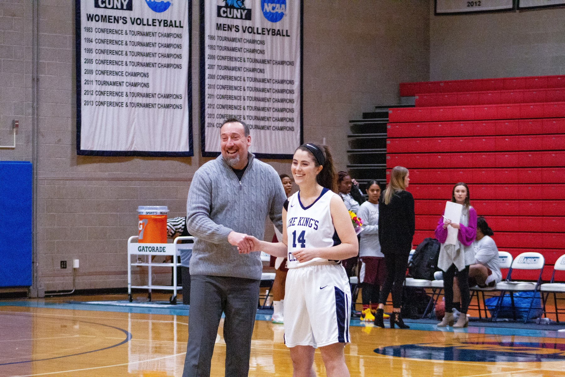 Senior Megan LeBlanc with Coach Mangarelli.