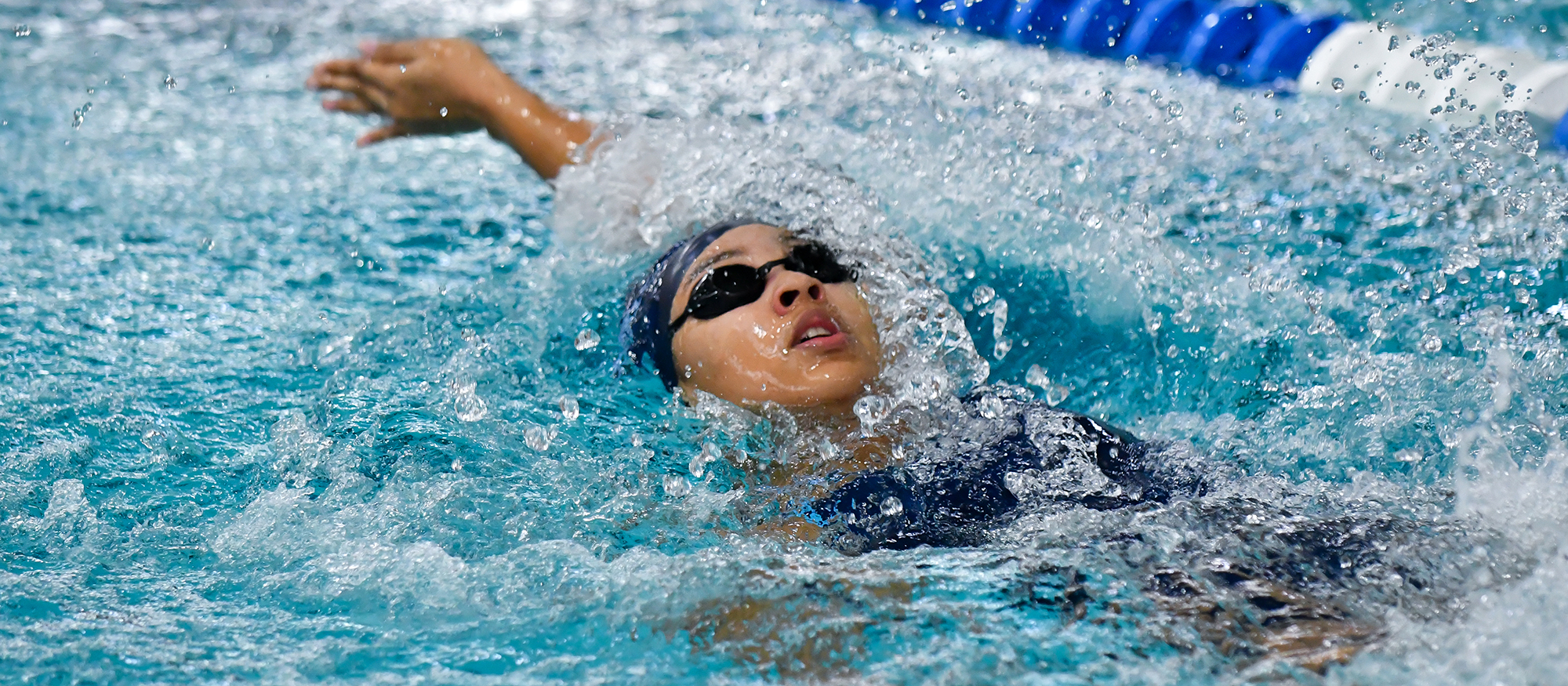 Action photo of Lyons swimmer, Laraiba Seibou.