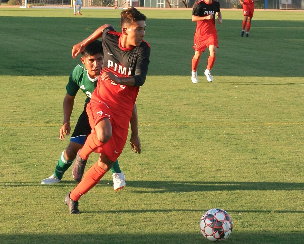 Freshman Ricky Gordillo (Maya HS) helped the Aztecs avoid overtime as he scored the game-winning goal in the 86th minute as Pima beat Arizona Western College 2-1 on Saturday at Kino North Stadium. The Aztecs are 9-2 on the season. Photo by Stephanie Van Latum