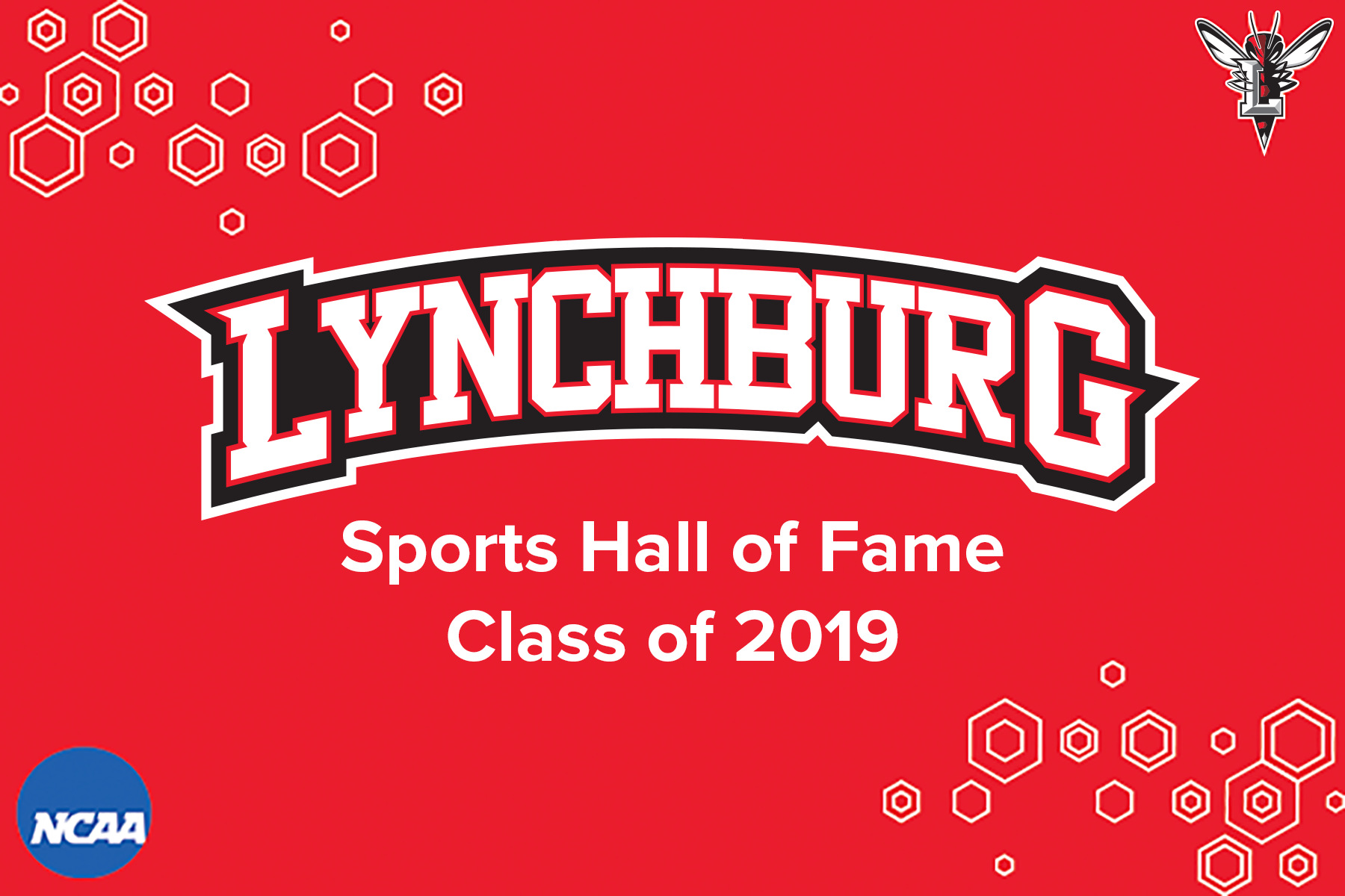 Red background with white text: Lynchburg sports hall of fame class of 2019