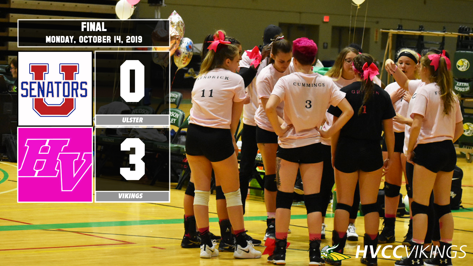 Volleyball defeats Ulster 3-0 on Oct. 14, 2019.