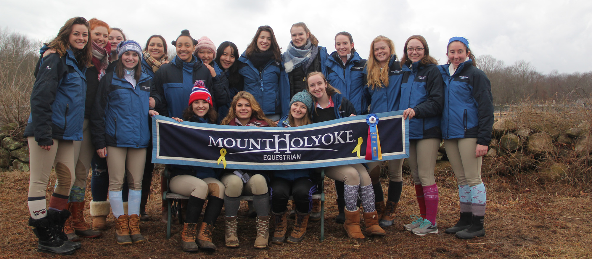 Photo of the Lyons riding team following victory at the University of Rhode Island Invitational.