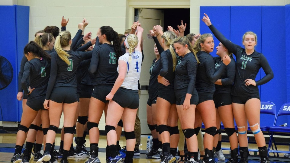 Salve Regina University women's volleyball defeated Emmanuel (3-0) and Saint Joseph's (3-2) during the tri-match hosted by the Monks in Standish, Maine. (Photo by Jordin Bonacorsi)