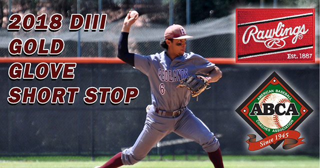 Redlands' Singh Named the ABCA/Rawlings Gold Glove Shortstop for NCAA Division III