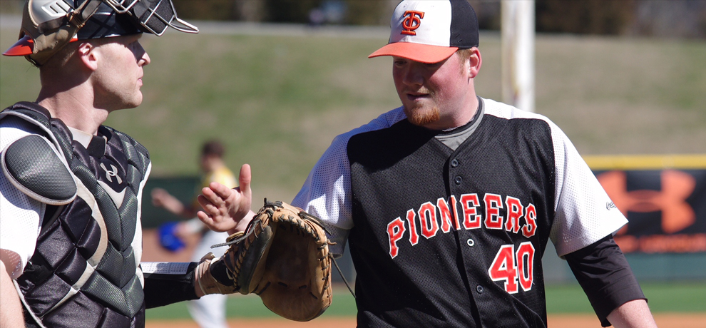 Colin Johnston celebrates as he pitched the final 6.1 innings in TC's 6-3 win over Notre Dame College (photo by Chris Lenker).