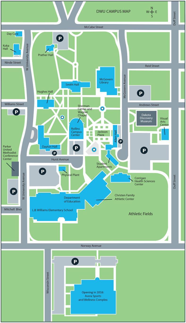 Dakota Wesleyan University Campus Map  Dakota Wesleyan University