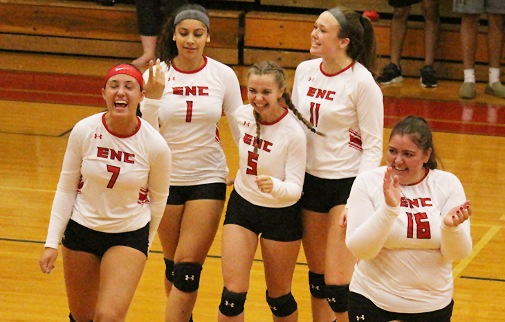 Women's Volleyball Bests Mitchell 3-0 to Begin NECC Slate