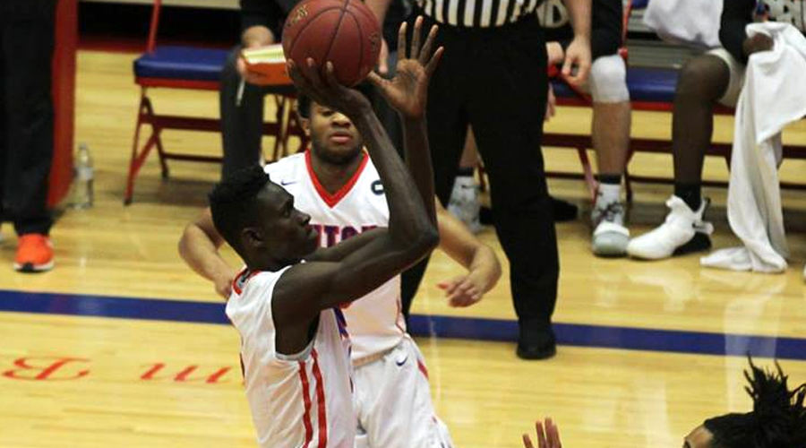 Fred Odhiambo had career highs of 18 points, 18 rebounds and seven blocked shots in Hutchinson's 98-90 overtime victory on Wednesday at Dodge City. (Bre Rogers/Blue Dragon Sports Information)