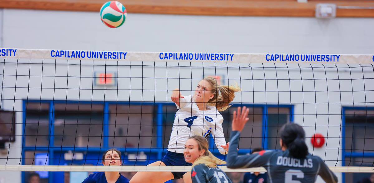 Capilano first-year outside hitter Emma Schill