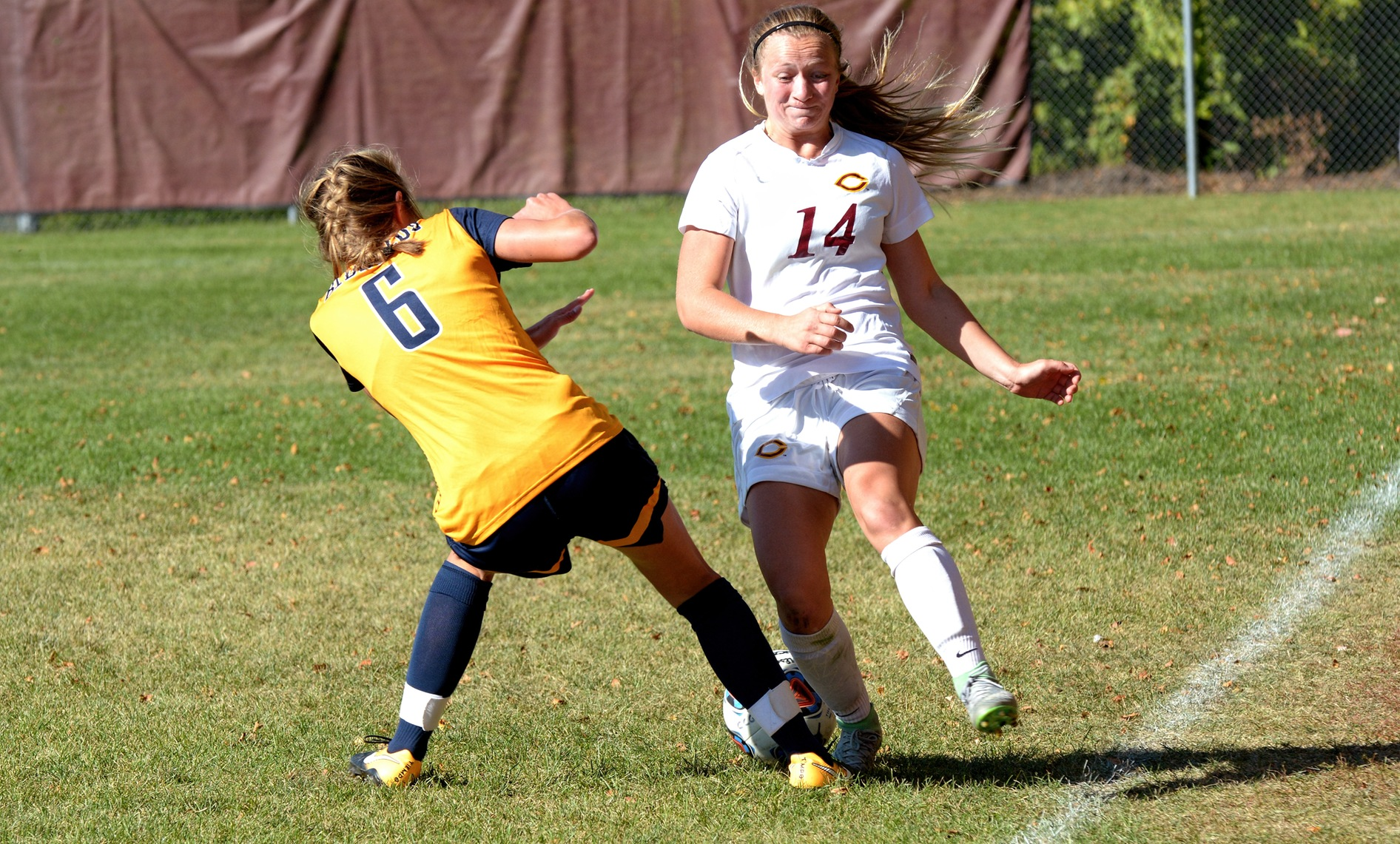 Freshman Klara Beinhorn had a pair of shots in the first five minutes of play in the Cobbers' game at Hamline.