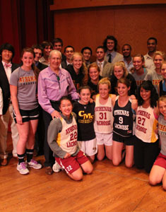 Lacrosse Teams Meet With Hall Of Famer Lyons