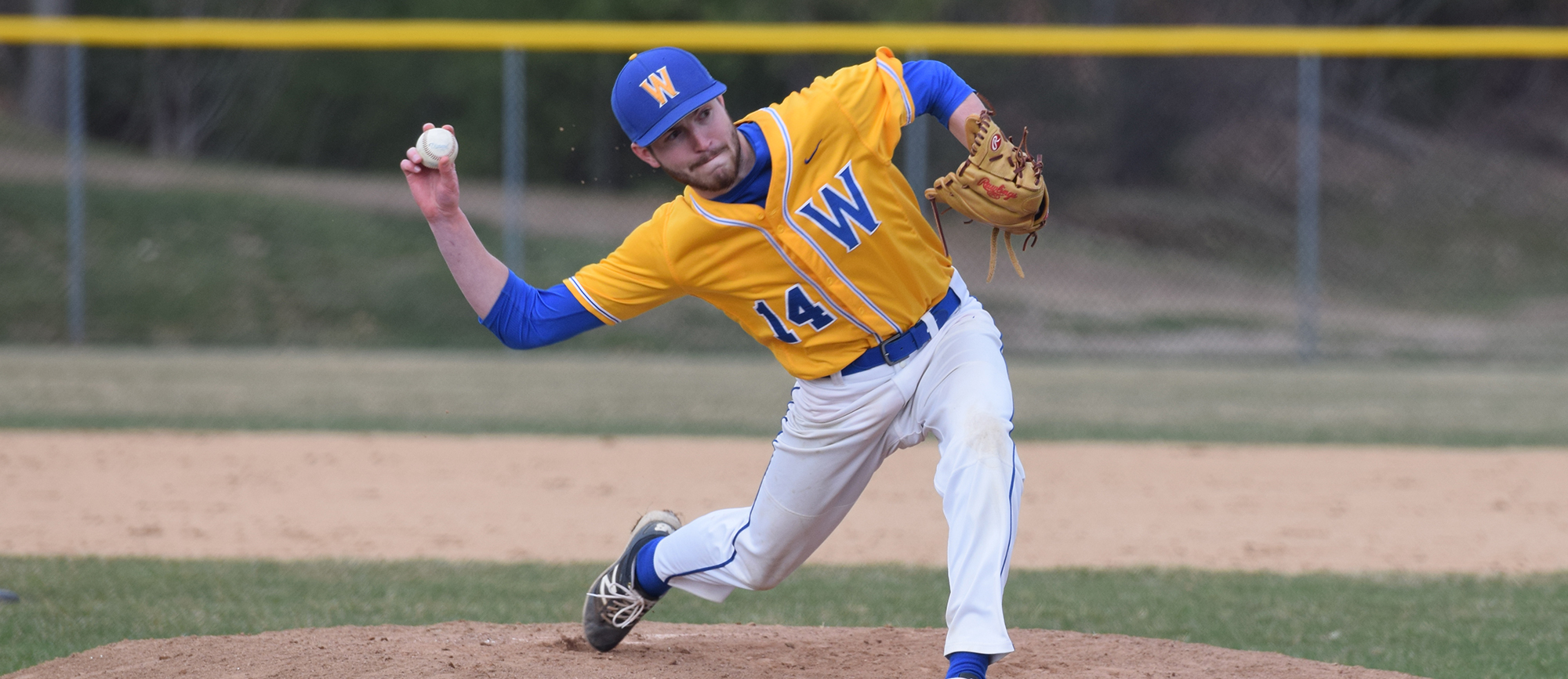 Sophomore Patrick Westerlind retired all four batters he faced, including two by strikeout, in the Golden Bears 7-6 win over Keene State on Wednesday. (Photo by Rachael Margossian)