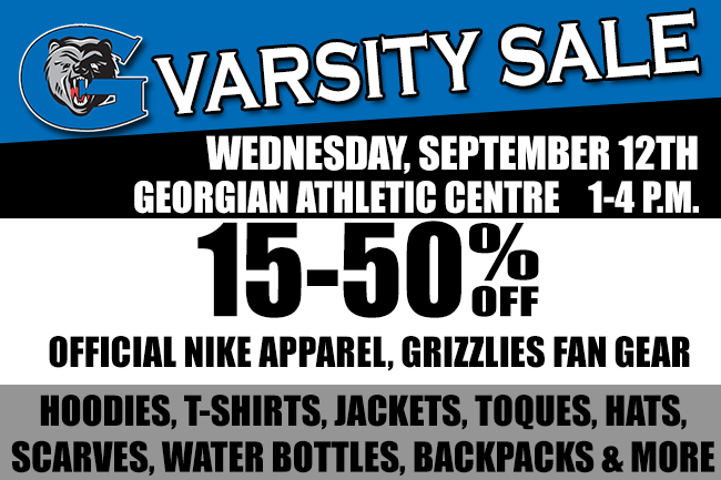 GRIZZLIES TO HOST VARSITY SALE SEPT. 12