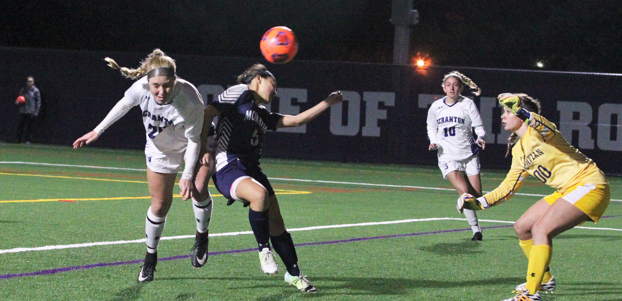 Sophomore forward Corinne McDonald scored on this header in Tuesday's Landmark Conference semifinal against Moravian.