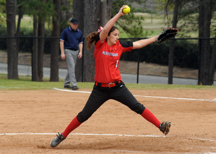 Katy Messick, shown here last season, pitched a complete game to earn the win in Game 1 of a sweep of Talladega College on Tuesday. Huntingdon won the first game 8-1 and the second game 6-5. (Photo by Wesley Lyle)