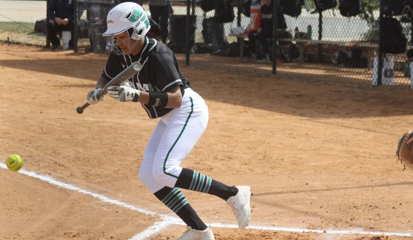 Copyright 2018; Wilmington University. All rights reserved. File photo of Kiana Broderson-Jones who hit a double in each game on Friday and went 3-for-5 in two games. Copyright 2018; Wilmington University. All rights reserved. Photo by Erin Harvey.