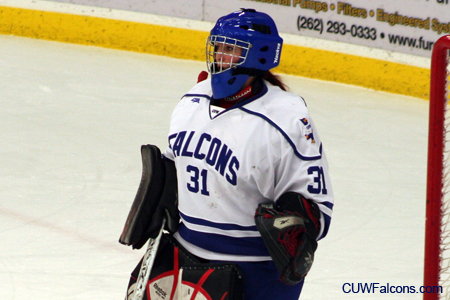 DeGeorge records career-high 54 saves, Women's Hockey ties St. Scholastica