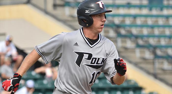Cody Burgess had four RBI, three singles, a triple, a walk, three runs, and three stolen bases in a 12-11 win over the Manatees. (Photo by Tom Hagerty, Polk State.)