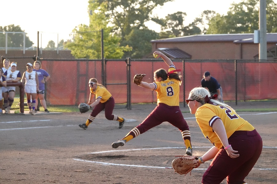 CUTLINE: Pearl River right-hander Gracie Barnett delivers a pitch during PRCC's 7-2 defeat to LSU-Eunice on Wednesday at Lady Wildcat Stadium in Poplarville, Miss. PRCC is hosting the Region XXIII Tournament for the first time in program history. (KRISTI HARRIS/PRCC ATHLETICS)