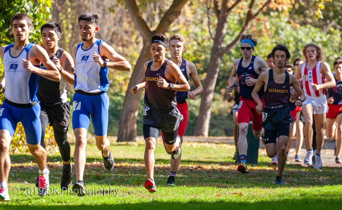 City College's (left) Xavier Morales and James Womack (right) at the front of the pack to start the Big 8 Final at Tuolumne River Regional Park on Nov. 1st.