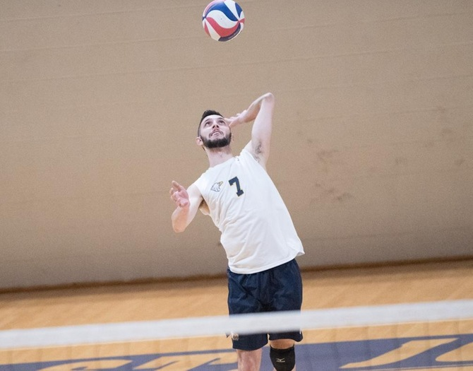 Men's Volleyball Remains Perfect in Skyline Play with Sweep of Mt. St. Vincent