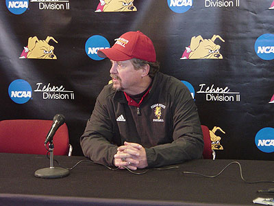 Ferris head coach Jeff Pierce speaks to reporters after the game (FSU Athletics)