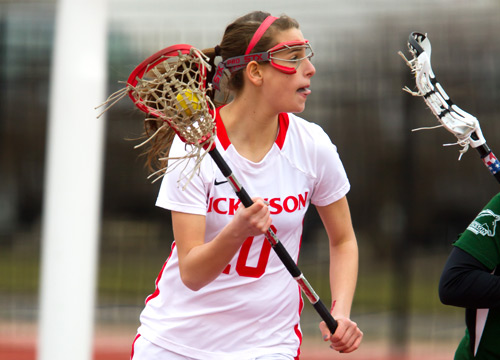 Lauren Jonas was one of three Red Devils to record hat-tricks in a 19-9 win over St. Mary's College on Saturday<BR>