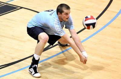Volleyball dig shot