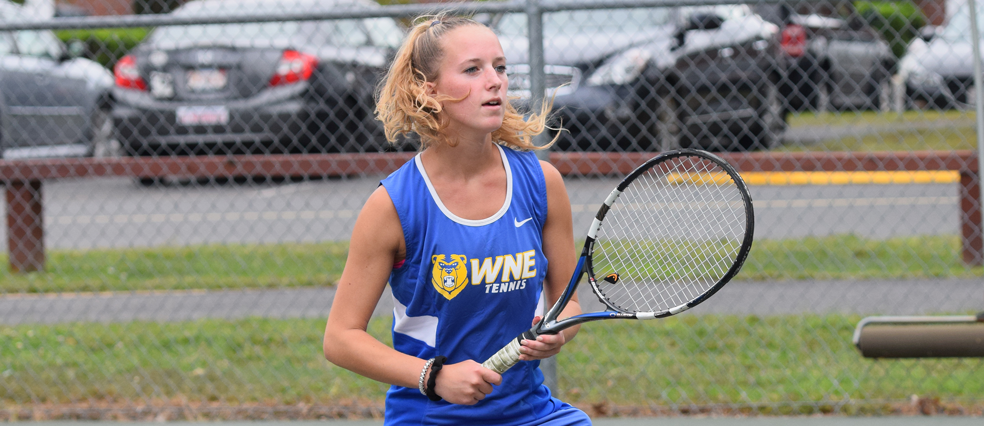 Junior Morgan Schrader won at No. 2 singles in Western New England's CCC-opening loss to Roger Williams on Thursday. (Photo by Rachael Margossian)