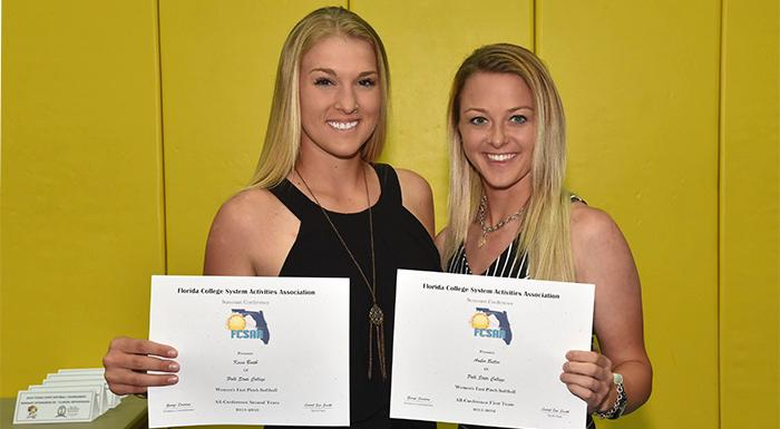 Kacie Booth and Amber Butler display their All-Suncoast Conference awards. (Photo by Tom Hagerty, Polk State.)