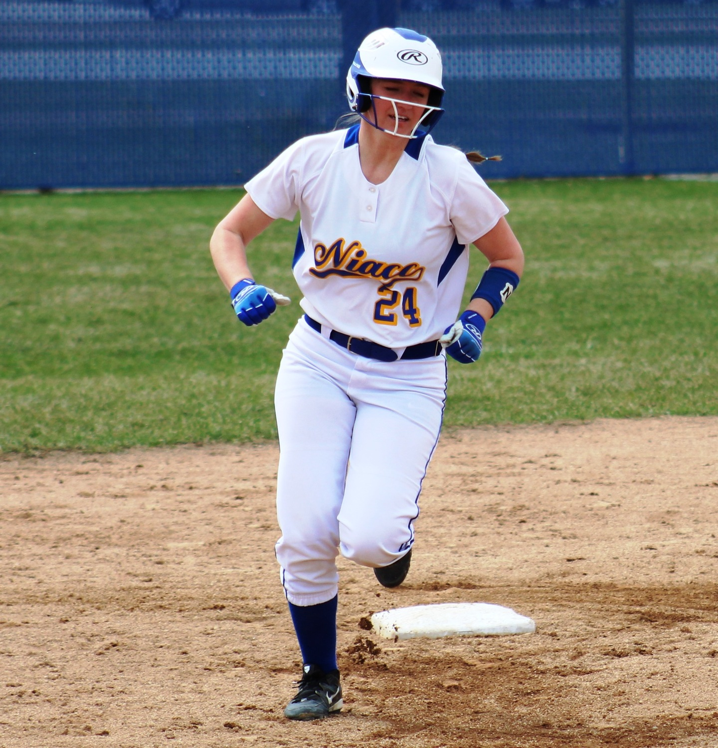 NIACC's Hailee Ausenhus rounds second base after hitting a home run in first game Tuesday against Indian Hills.