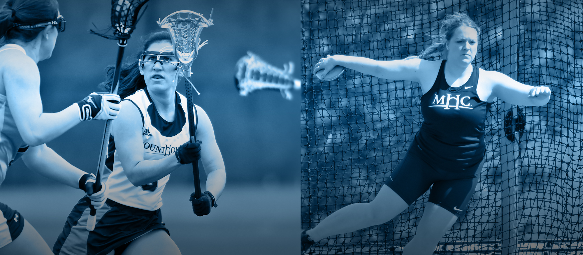 Image featuring Lacrosse senior Kaitlin Braz and track & field junior Julia Hecking.