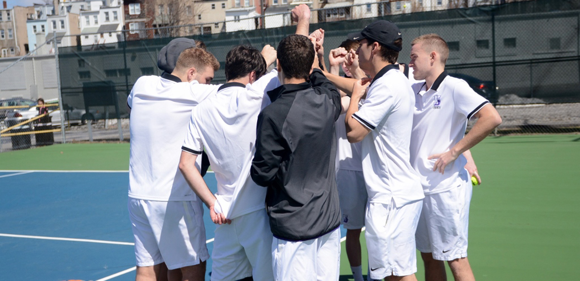 The men's tennis team clinched the #2 seed in the Landmark Conference playoffs with a win at Juniata on Sunday.
