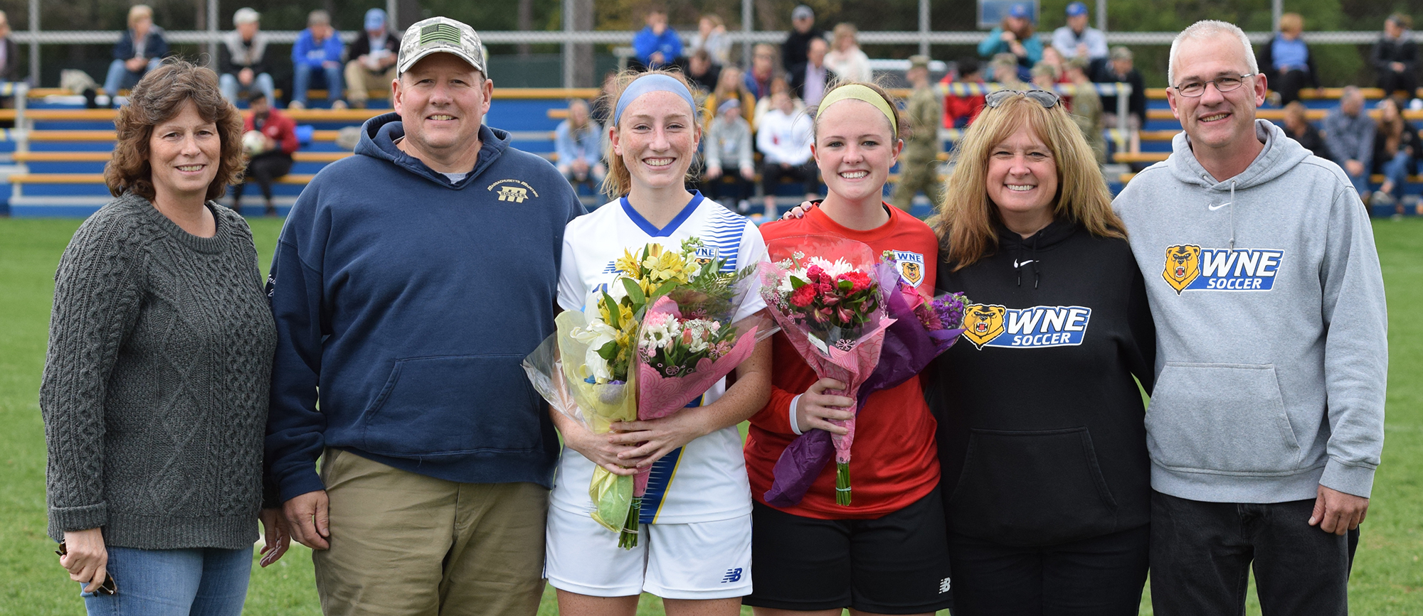Seniors Erin Grimes and Marissa Veilleux were honored before the start of Western New England's 1-1 draw with UNE on Saturday. (Photo by Rachael Margossian)